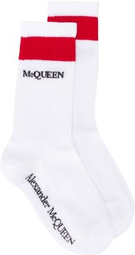 ribbed logo socks - White