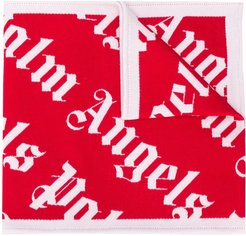 monogram double-face scarf - Red