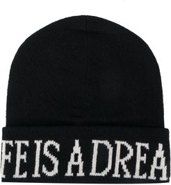 Life Is A Dream knitted beanie - Black