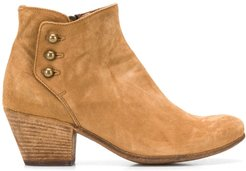 side-buttoned ankle boots - Brown