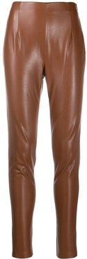 faux leather high-waisted skinny trousers - Brown