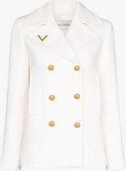 double-breasted gold tone button peacoat