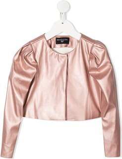 cropped puff-sleeved jacket - PINK