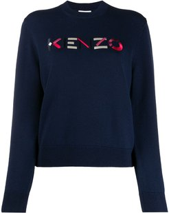 logo-embroidered wool jumper - Blue