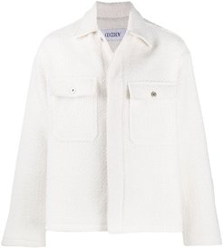 flap pockets knitted jacket - White