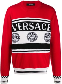 logo intarsia knitted jumper - Red