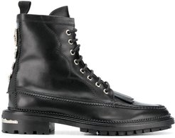 fringed lace-up ankle boots - Black