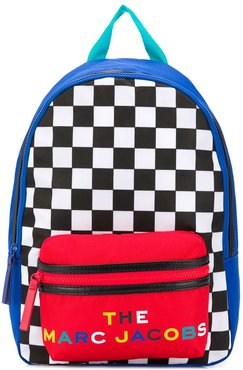color-block checkered backpack - Blue
