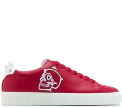 skull-patch low-top trainers - Red