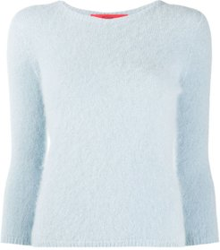 3/4 sleeve textured sweater - Blue
