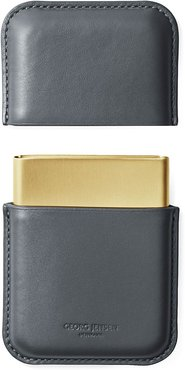 Shades Business Card Holder Grey Leather & Pvd Plated Ss