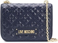 quilted chain-handle bag - Blue
