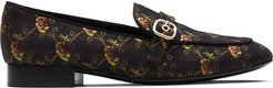Blanche floral patterned loafers - Black