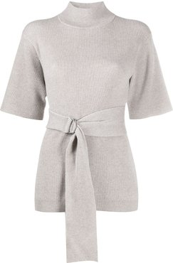 belted knitted top - Grey