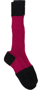 colour-block knitted socks - Red