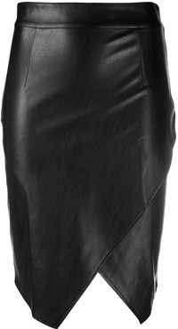 faux leather wrap pencil skirt - Black