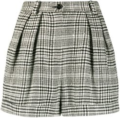 cuffed checkered shorts - Black
