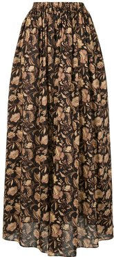 Ginger Hibiscus maxi skirt - Brown