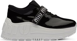 patent finish platform sneakers - Black