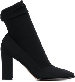 square-toe high-heel boots - Black
