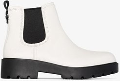 white Markstrum leather ankle boots