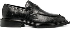 Volcano debossed text loafers - Black