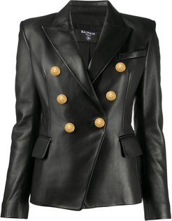 double-breasted leather blazer - Black