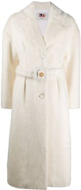 belted wool coat - White