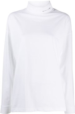 stand-up collar jumper - White