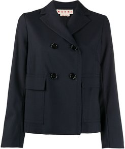 cropped double-breasted jacket - Blue