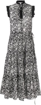 floral flared midi dress - Black