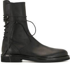 rear lace-up ankle boots - Black