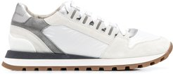 panelled low-top sneakers - White