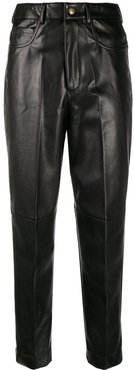 faux-leather cropped trousers - Black
