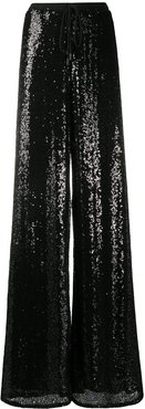 sequinned wide-leg trousers - Black