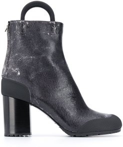cracked leather ankle boots - Grey