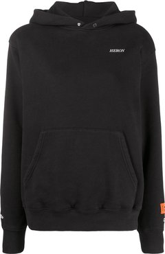 embroidered logo pouch pocket hoodie - Black