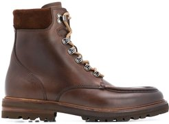 round-toe lace-up boots - Brown