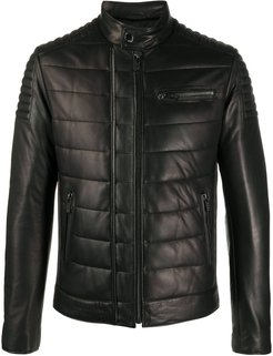 quilted leather jacket - Black