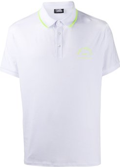 neon trim polo shirt - White
