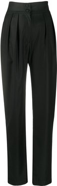 tapered-leg wool trousers - Black