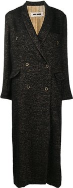 knitted loose fit double-breasted coat - Brown