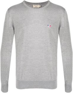 embroidered logo jumper - Grey