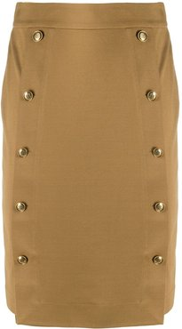 button-embellished pencil skirt - Brown