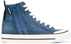 denim lace-up sneakers - Blue