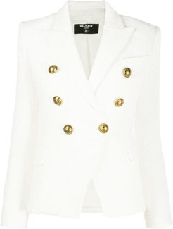 double breasted cropped jacket - White