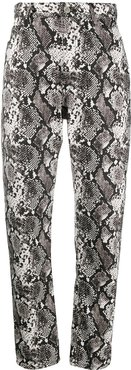 high-waisted snake print trousers - White