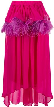asymmetric feather-trim silk skirt - PINK