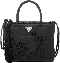 bead embroidered tote - Black