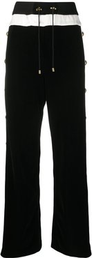buttoned wide-leg trousers - Black